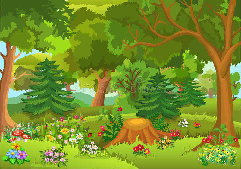 Fairytale forest. Vector illustration of fairytale forest with colorful flowers