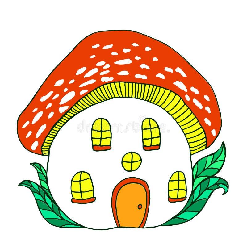 Fairytale house mushroom amanita. royalty free illustration
