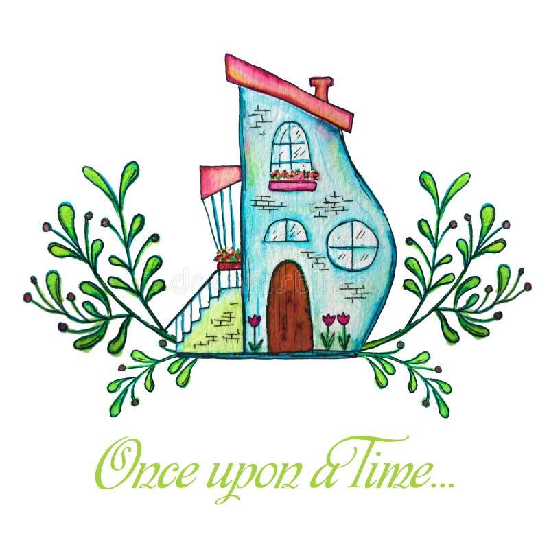 Fairytale house. Watercolor hand drawn illustration. vector illustration