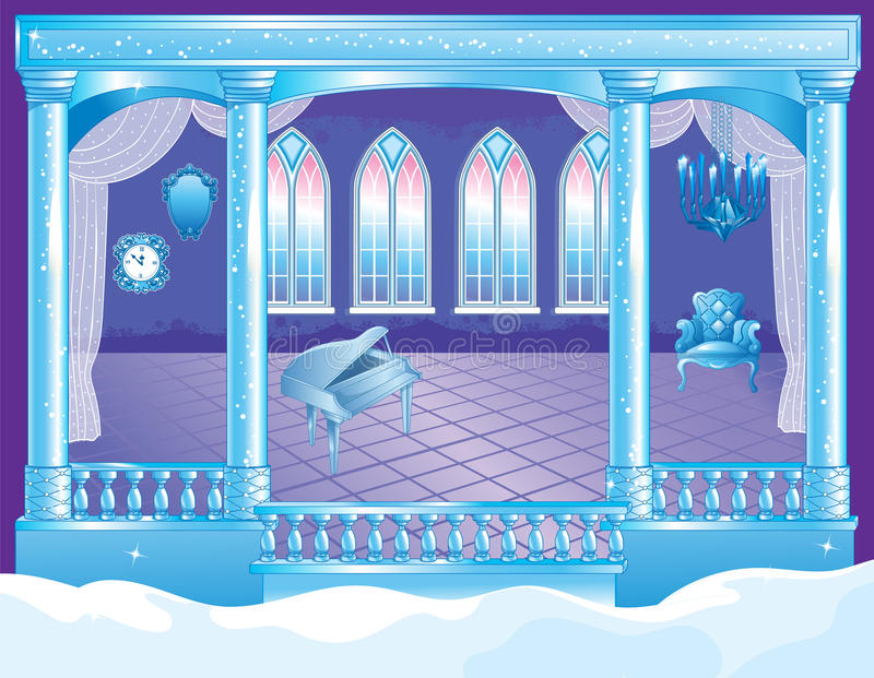 Fairytale Ice Palace Ballroom royalty free illustration