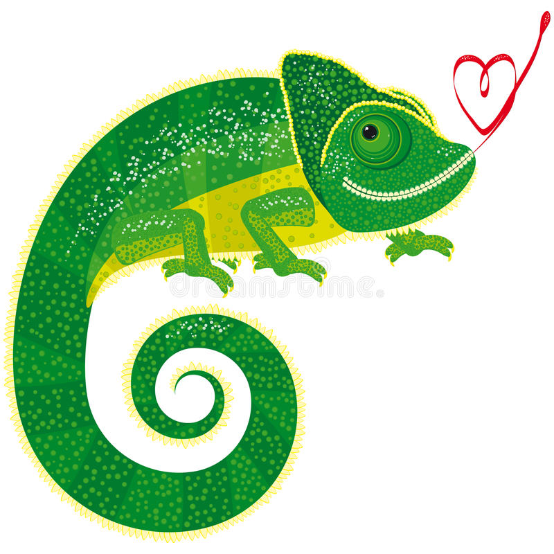 Free Fairytale Isolated Chameleon With Valentine Royalty Free Stock Images - 12642389