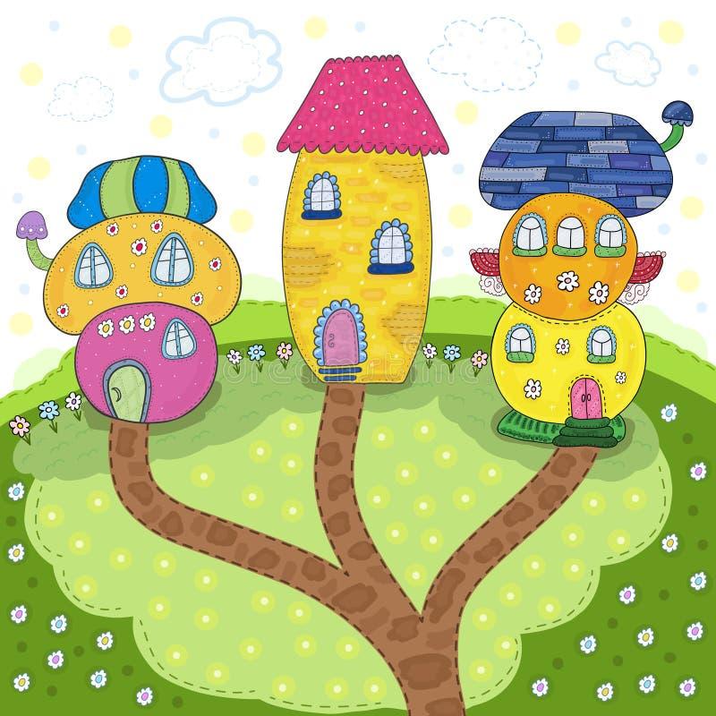 Fairytale kleurrijke leuke huizen in beeldverhaalstijl Magisch Land Vector hand getrokken illustratie Voor het drukken geschikt m vector illustratie