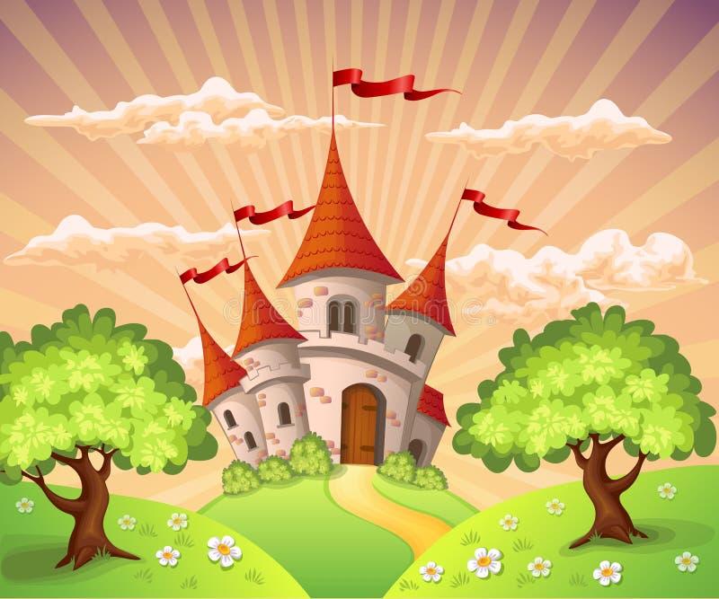 Fairytale landscape with castle stock illustration