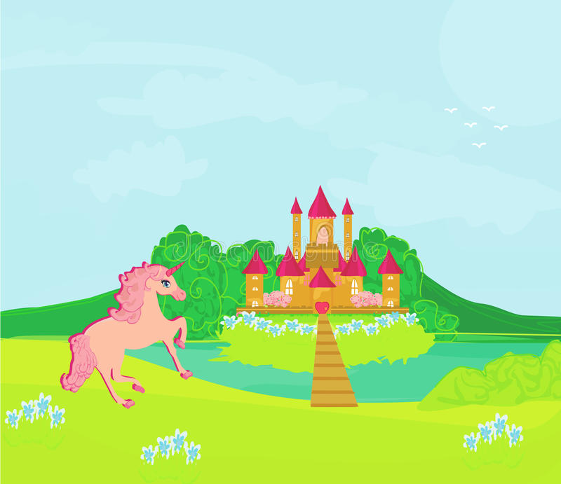 Fairytale Landscape With  Magic Castle And  Unicorn Royalty Free Stock Images