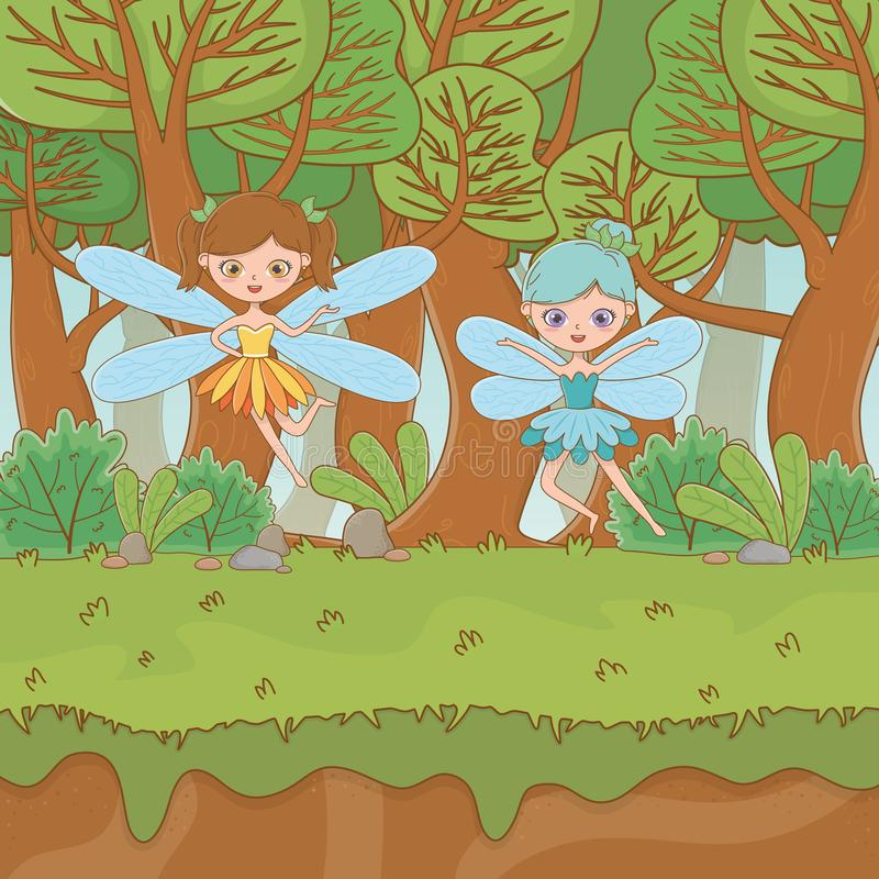 Fairytale landscape scene with fairies flying royalty free illustration
