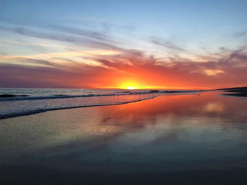 Fairytale, beauty, colours and magical sunset in Matalascanas, Huelva Province, Andalusia, Spain royalty free stock photos