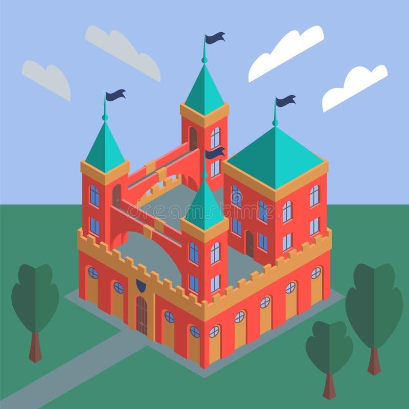 A fairytale medieval castle against a summer landscape vector illustration