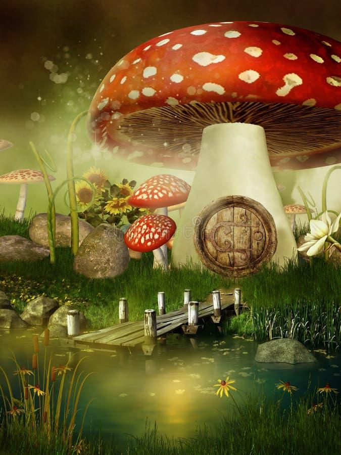 Fairytale mushroom house. By the lake