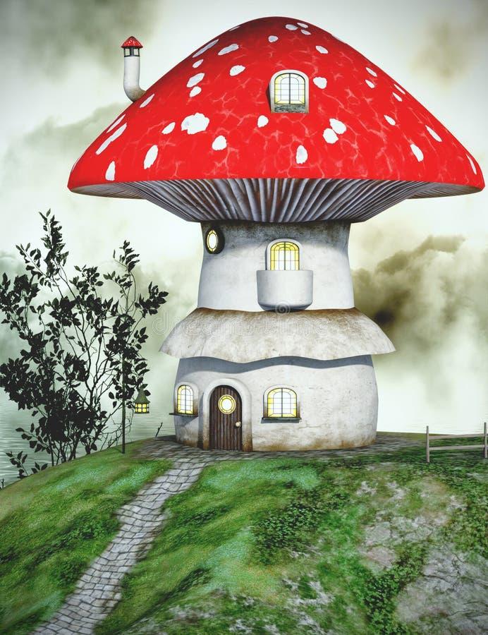 Fairytale mushroom house royalty free illustration