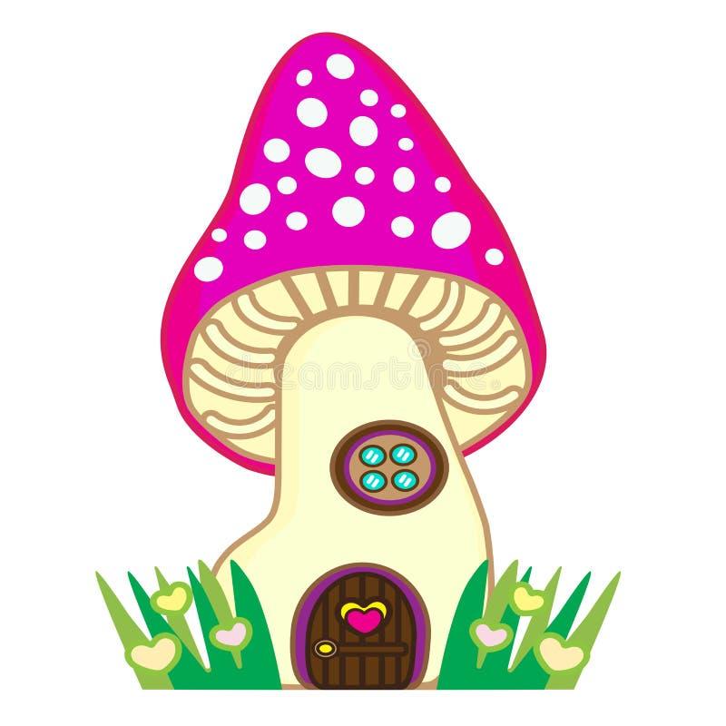 Fairytale mushroom-house for fairy a gnome or fairies vector illustration