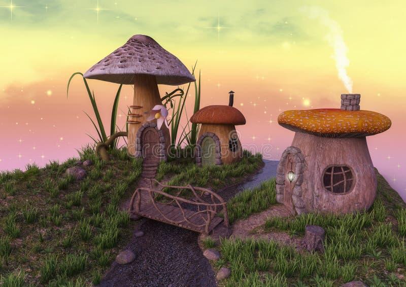 Fairytale mushroom houses with a little bridge. stock illustration