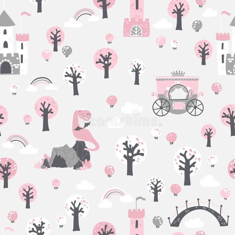 Fairytale nahtlose Muster Vector Kinderbild einer PrinzessBurg im Wald mit Krone und Drache lizenzfreie abbildung