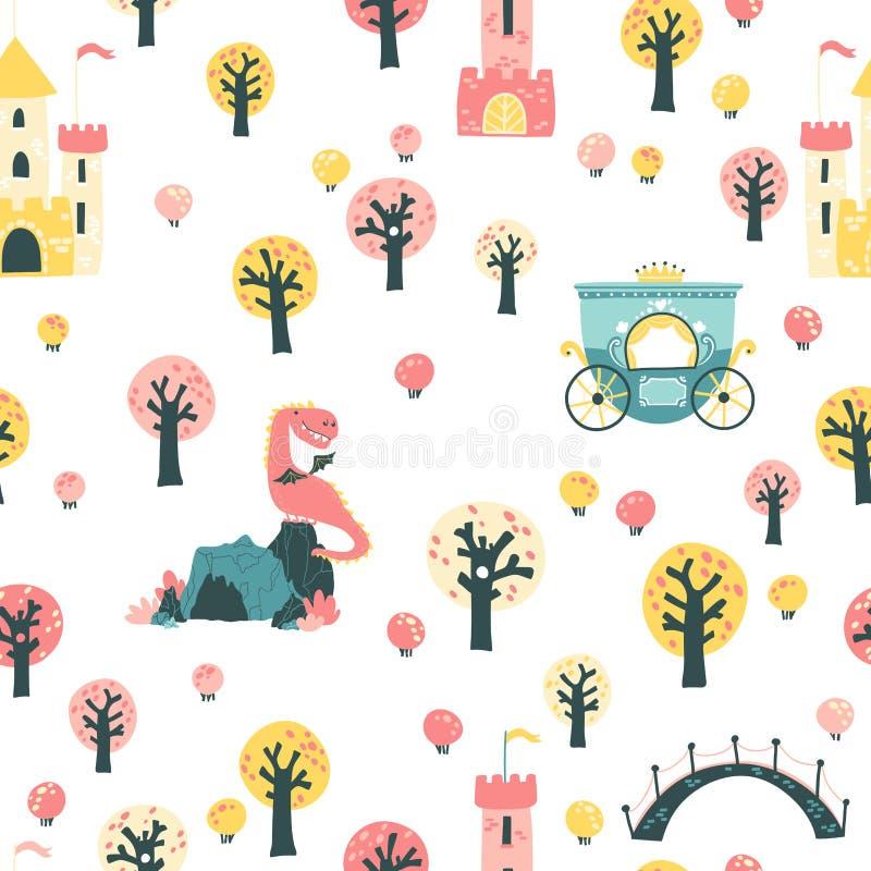 Fairytale nahtlose Muster Vector Kinderbild einer PrinzessBurg im Wald mit Krone und Drachenhöhle im Wald vektor abbildung