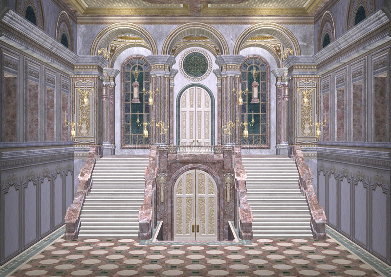 Fairytale Palace. 3D digital render of a beautiful royal fairy tale palace entrance vector illustration