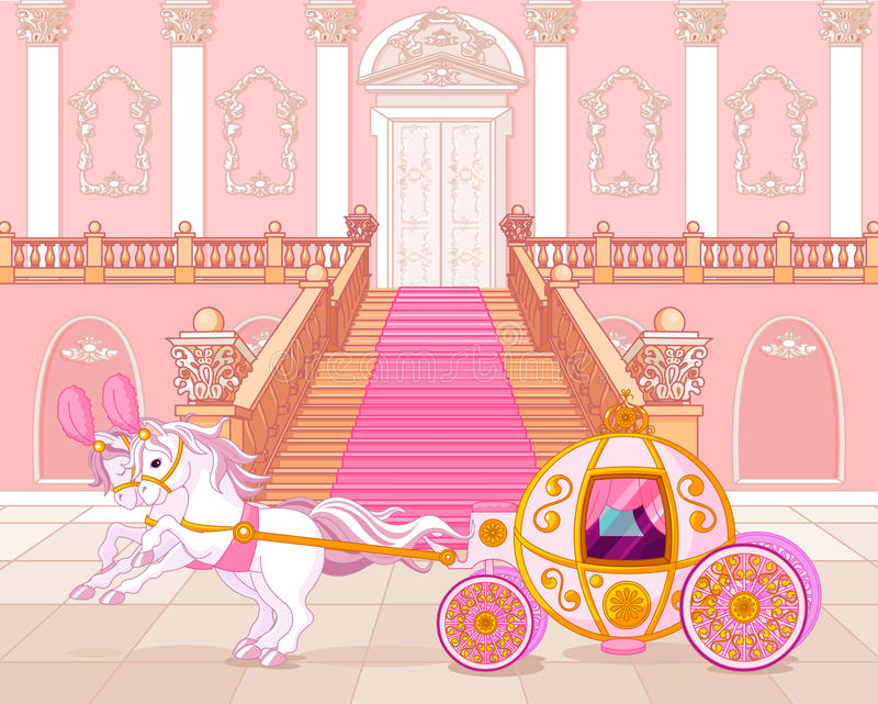 Fairytale pink carriage vector illustration