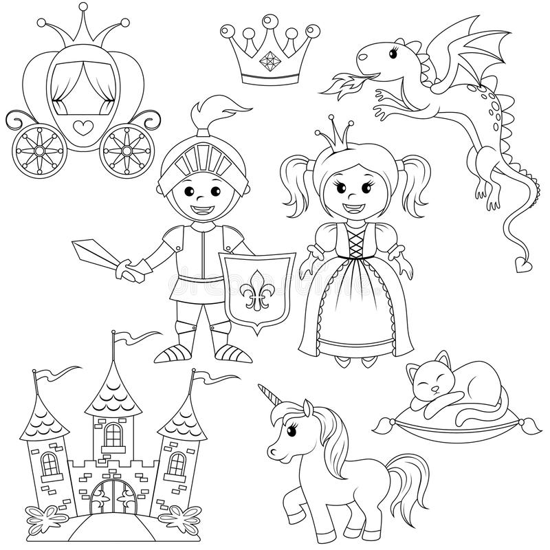Fairytale princess, knight, castle, carriage, unicorn, crown, dragon, cat and butterfly royalty free illustration