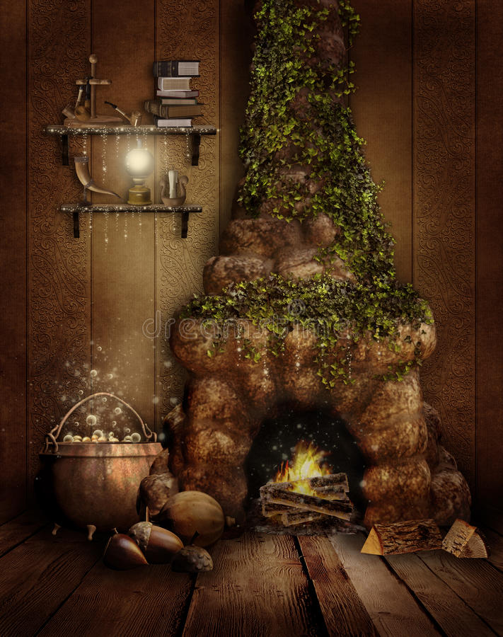 Fairytale Room With A Fireplace Royalty Free Stock Images
