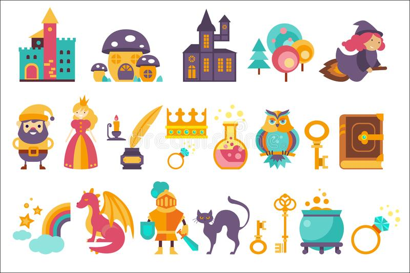 Fairytale set, princess, princess, castle, gnome, witch, dragon, rainbow, knight and othe elements vector Illustrations stock illustration