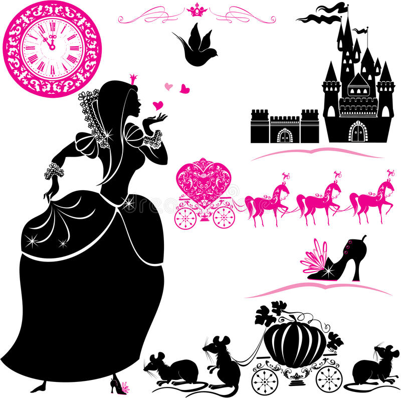 Fairytale Set - silhouettes of Cinderella, Pumpkin. Carriage with mouses, castle and clock
