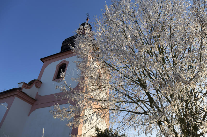 Download Fairytale Snowy Winter Countryside With Blue Sky In Bohemia, Czech Republic Stock Photo - Image: 83700082