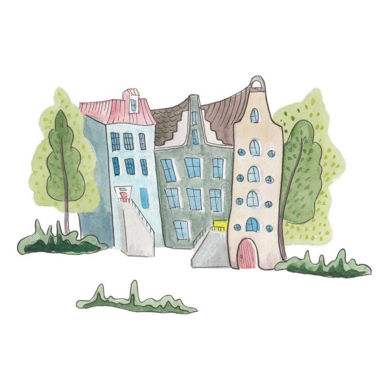 Fairytale Straße, bunte, süße Häuser und Bäume, Aquarellbilder auf weißem Hintergrund isoliert lizenzfreie abbildung