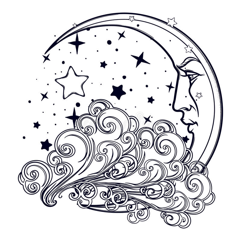 Fairytale style crescent moon with a human face resting on a curly ornate cloud with a starry nignht sky behind stock illustration