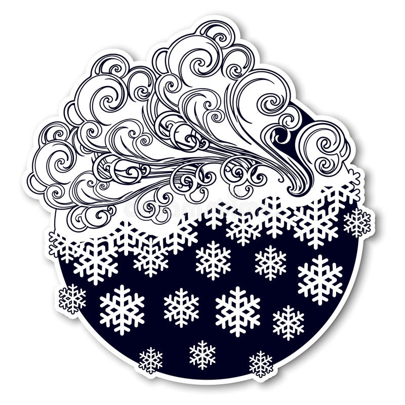 Fairytale style winter festive sticker. Curly ornate clouds with a falling snowflakes. Weather forecast icon. Christmas stock illustration