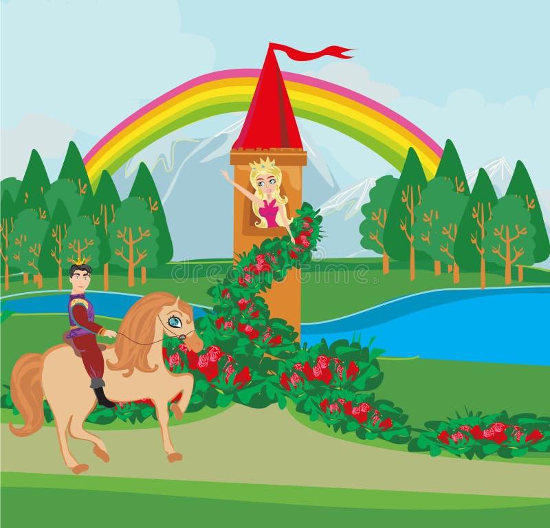 fairytale toren en prins op een paard vector illustratie