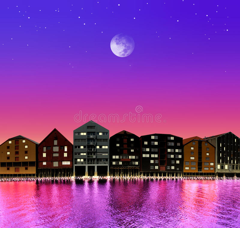 Download Fairytale town stock photo. Image of city, holiday, moon - 16237170