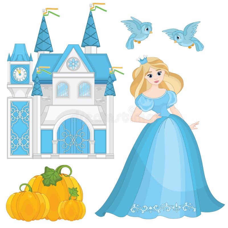 Fairytale Vastgestelde Cinderella vector illustratie