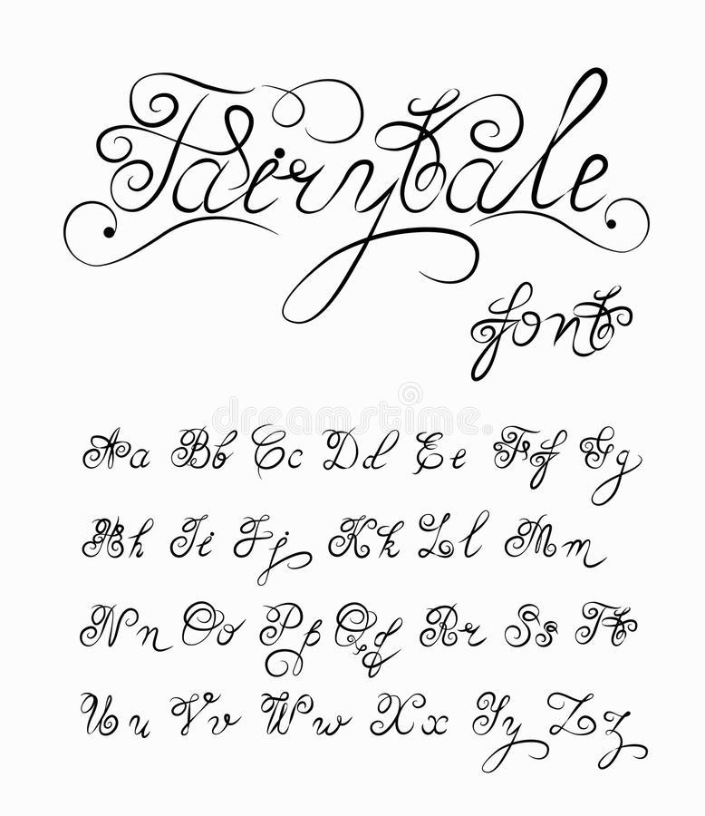 Download Fairytale Vector Hand Drawn Calligraphic Font Handmade Calligraphy Tattoo Alphabet Quote Text