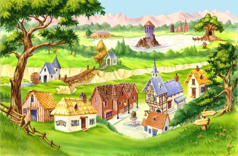 Fairytale Village. Digital Painting Background, Illustration in cartoon style character vector illustration