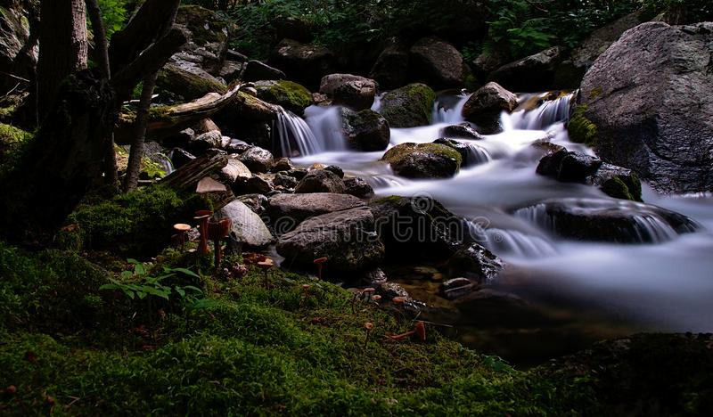 Fairytale. Water fall waterfall rocks river longexposure royalty free stock images