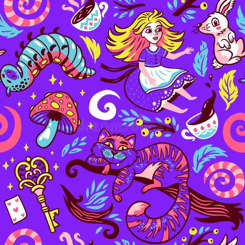 Fairytaleachtergrond met leuke beeldverhaalkarakters van Alice in sprookjesland stock illustratie