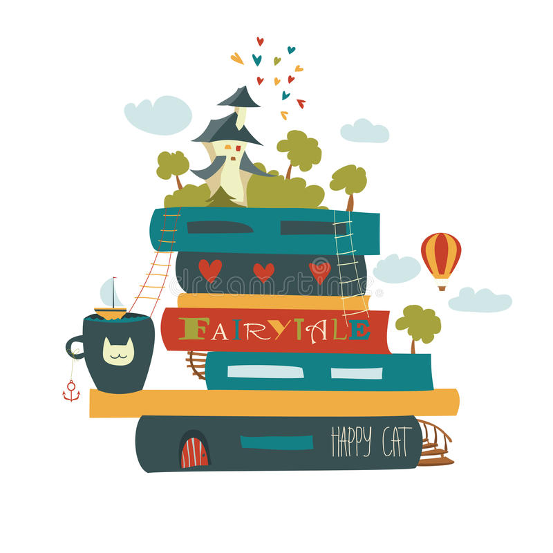 Fairytaleconcept met boek en middeleeuws kasteel stock illustratie
