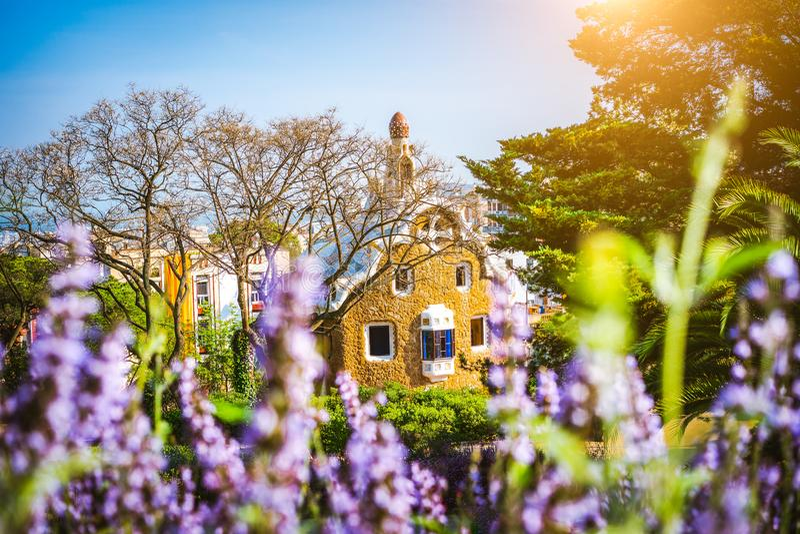 Fairytalehuis in Park Guell door Antoni Gaudi wordt ontworpen dat Weelderige purpere bloemen in de voorgrond De beroemde plaatszo royalty-vrije stock fotografie