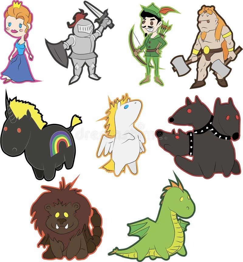 Fairytalekarakters stock illustratie