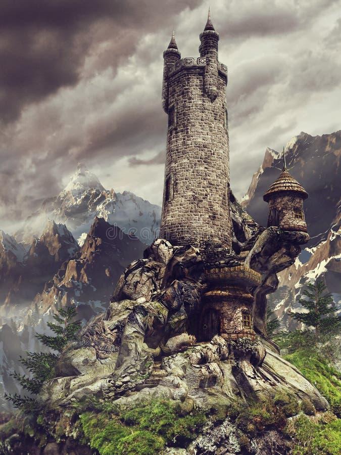 Fairytalekasteel in de bergen royalty-vrije illustratie