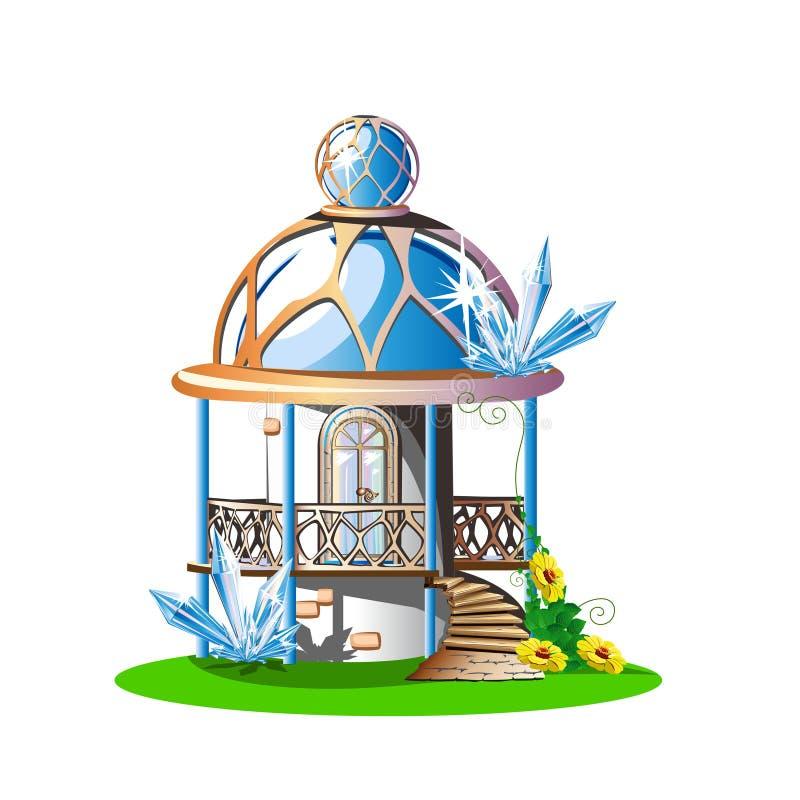Fairytalekasteel met een blauw overkoepeld dak, een balkon en kristallen stock illustratie