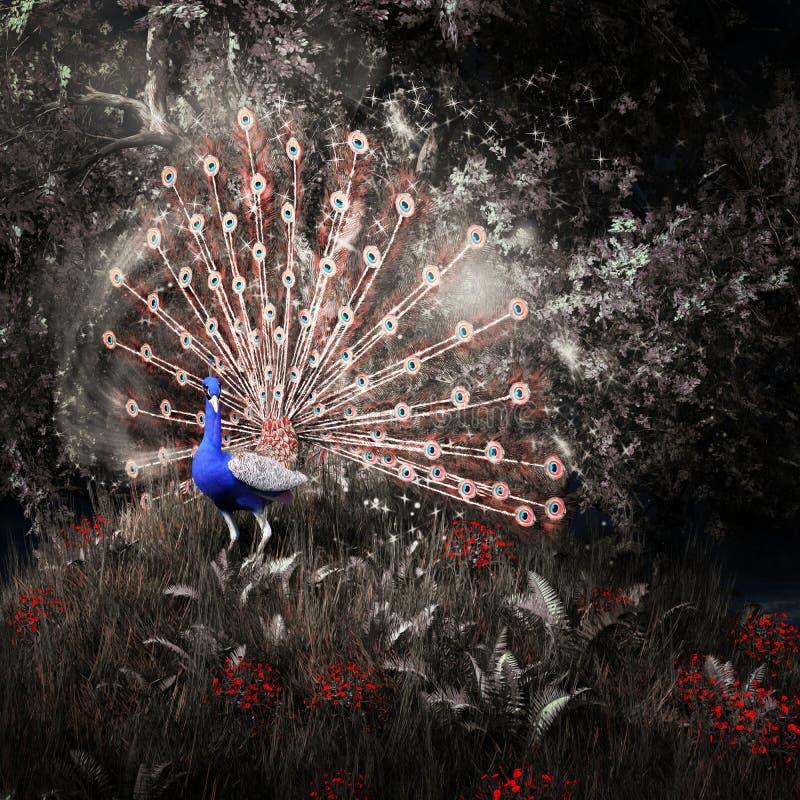 Fairytalepauw onder de bomen stock afbeeldingen