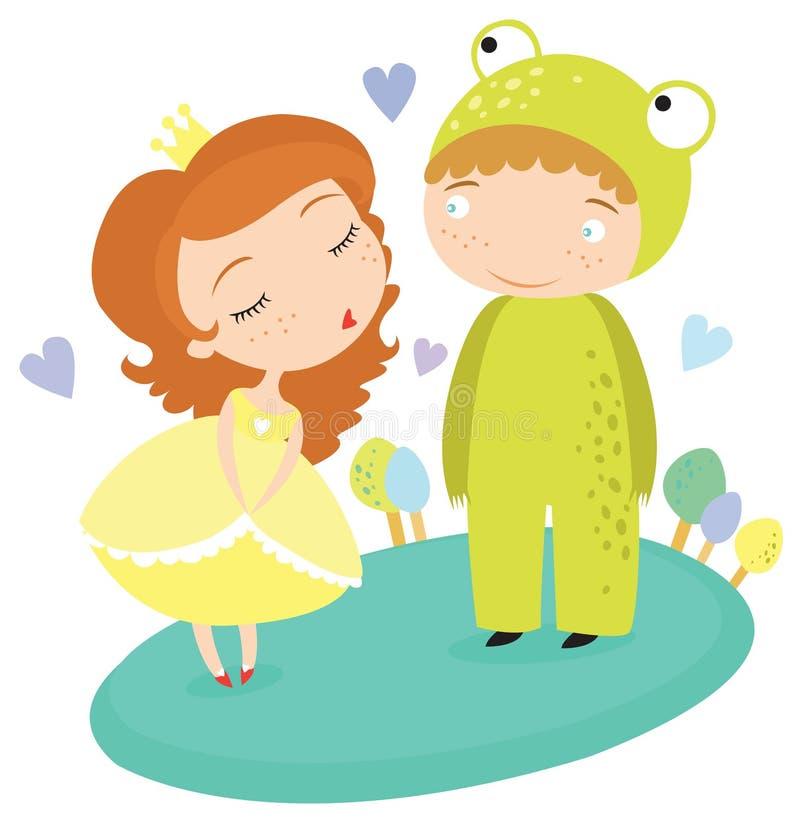 Fairytaleprinses Kissing Frog Prince stock illustratie