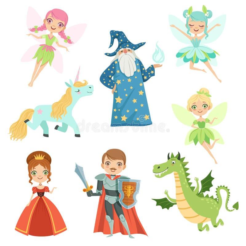 Fairytaleset van tekens in verschillende kostuums Prinses, grappige eenhoorn Tovenaar, draak en ridder Vector graphhics stock illustratie