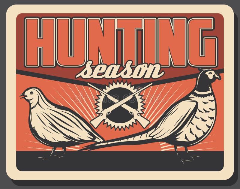 Faisão e perdiz selvagens no cartaz da caça ilustração royalty free