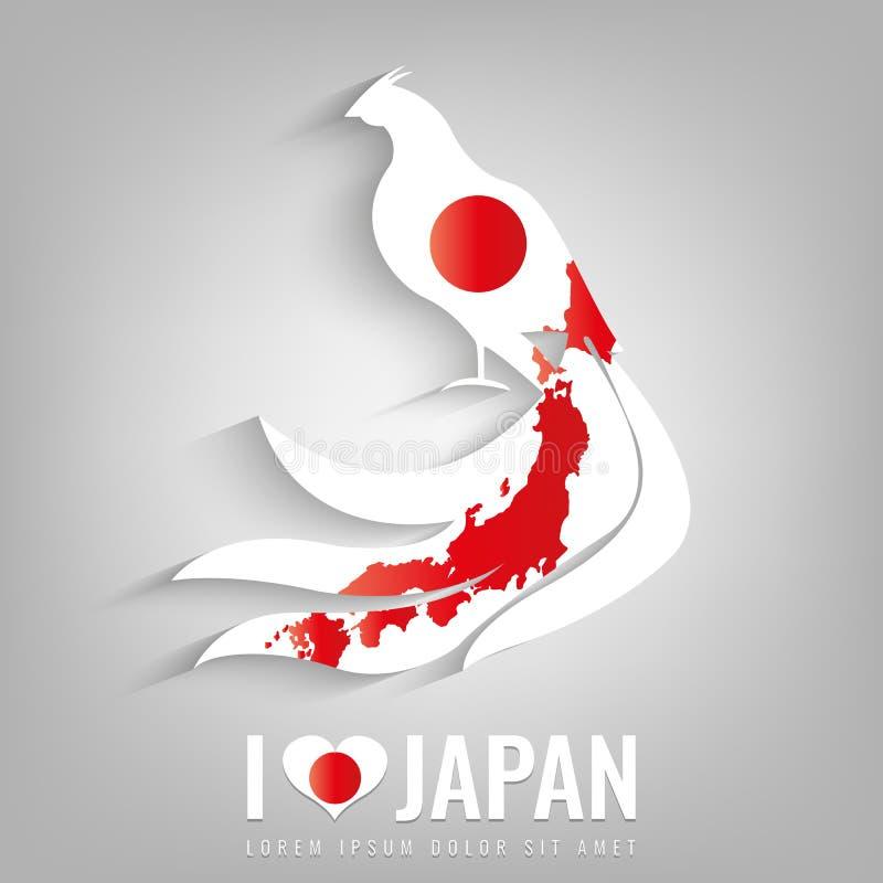 Faisão nacional do símbolo de Japão com uma silhueta oficial da bandeira e do mapa Mapa de Japão Vetor ilustração royalty free