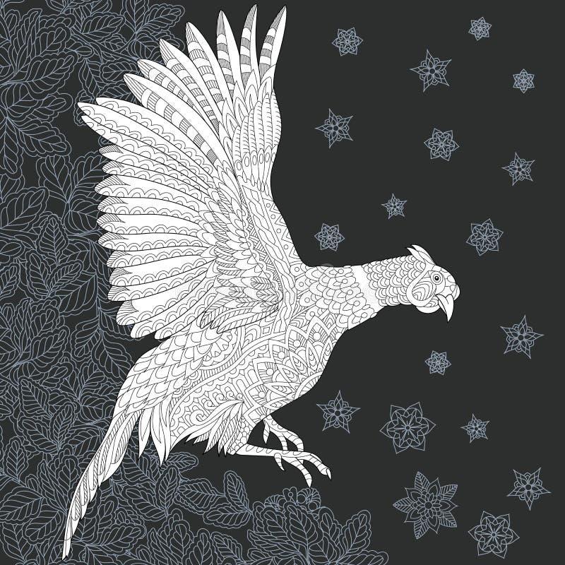Faisão no estilo preto e branco ilustração do vetor