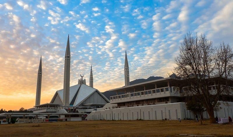 Faisal Mosque em Islamabad, Paquistão foto de stock royalty free