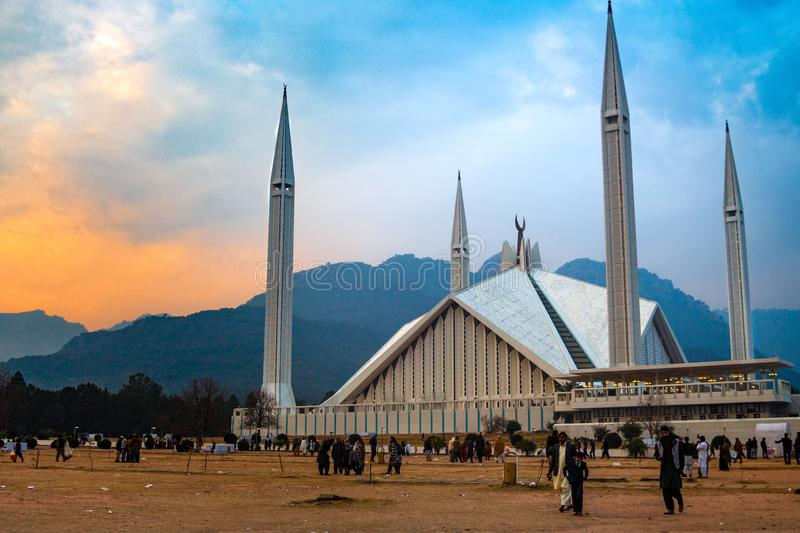 Faisal Mosque in golden hour just before sunset stock images