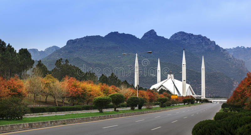 Faisal Mosque Islamabad Pakistan royalty free stock image