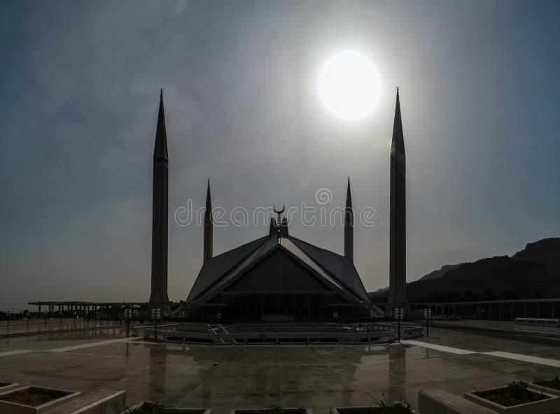 Faisal Mosque na capital de Islamabad de Paquistão imagens de stock royalty free