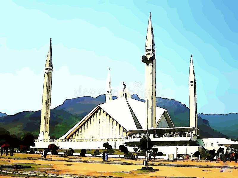 """Faisal Mosque Urdu: ³ جد för """"Ù… Ø för Ù- ÛŒØΜÙ är moskén i Islamabad, Pakistan vektor illustrationer"""